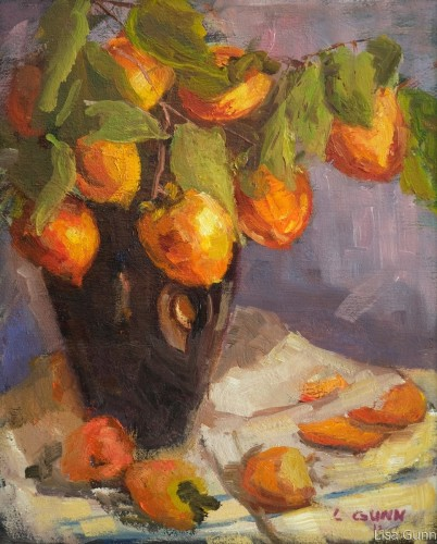 Persimmons in a Black Vase