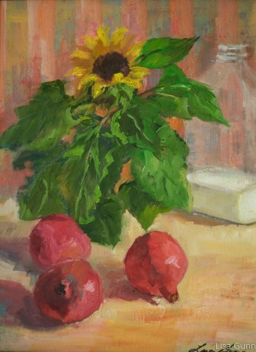 Sunflowers and Pomegranate