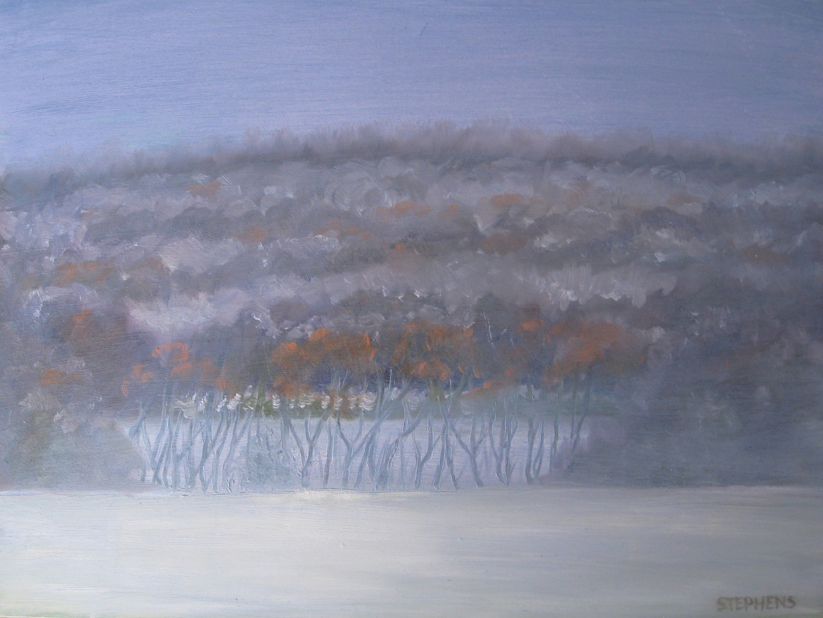 Impressionistic winter landscape painted in oils in blue and white with orange accents. (large view)