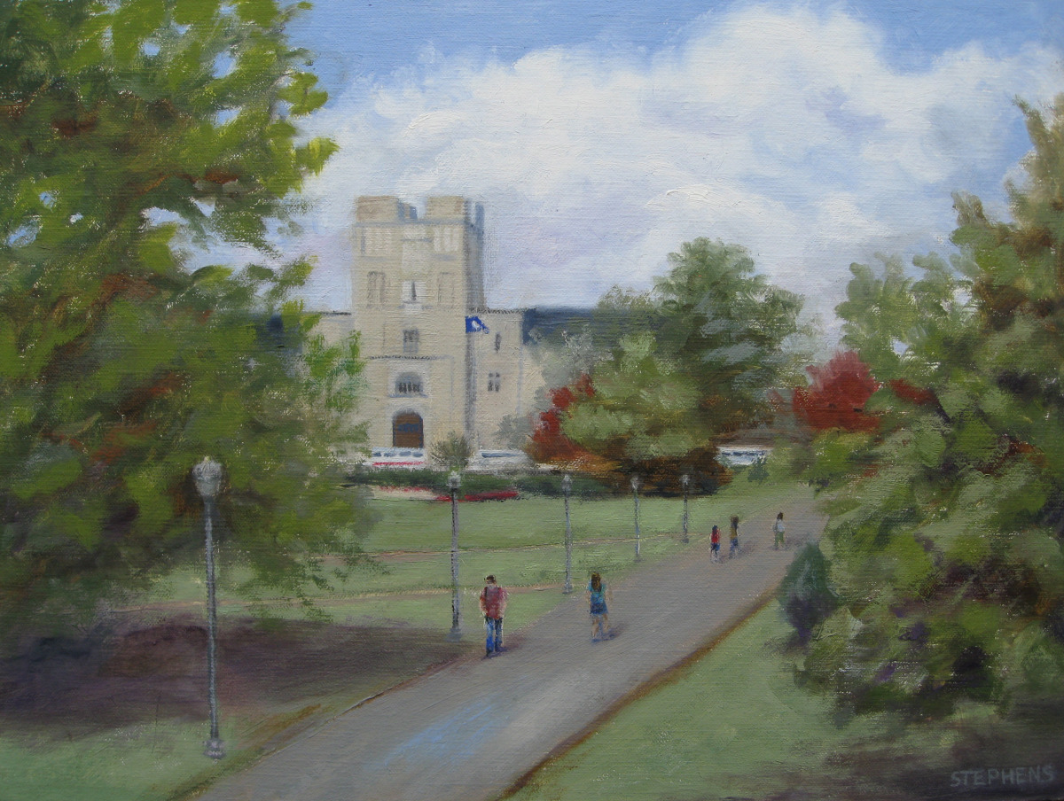Summer painting of Virginia Tech drillfield (large view)