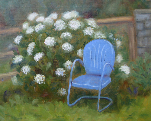 Blue Chair and Hydrangea by Lois Stephens