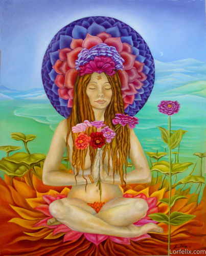 Lady Zinnia in the Seventh Chakra by Lori Felix