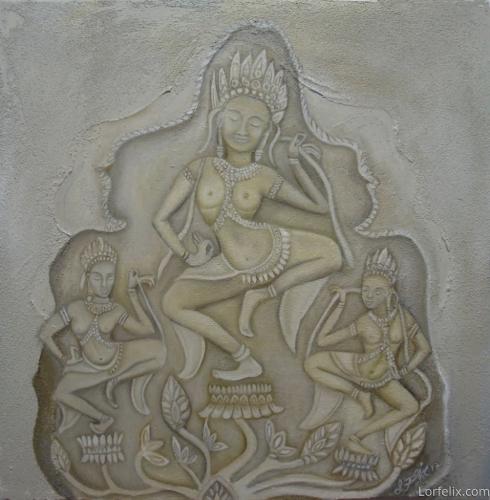 Three Dancing Apsaras