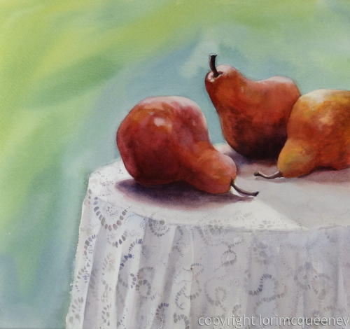 Pears and Lace by Lori McQueeney