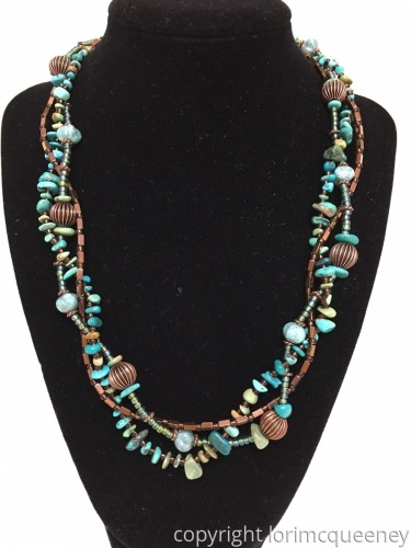 Turquoise, Glass and Copper Twisted Necklace