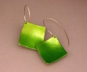 """Light weight and eye catching 3/4""""x 3/4"""" bright green aluminum earrings with sterling silver findings. (thumbnail)"""