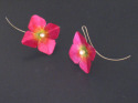 Hand formed magenta aluminum earrings painted with acrylic ink, finished with freshwater pearls and silver ear wires and sealed with several layers of acrylic varnish. (thumbnail)