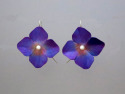 Hand formed purple aluminum flower earrings painted with acrylic ink, finished with freshwater pearls and silver ear wires and sealed with several layers of acrylic varnish. (thumbnail)
