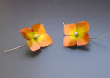 Hand formed orange aluminum flower earrings painted with acrylic ink, finished with freshwater pearls and silver ear wires and sealed with several layers of acrylic varnish. (thumbnail)