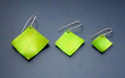 Lightweight, green aluminum square earrings are positioned at a diagonal and hung from sterling silver wires. Available in 3 sizes. (thumbnail)