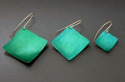 Lightweight, turquoise aluminum square earrings are positioned at a diagonal and hung from sterling silver wires. Available in 3 sizes. (thumbnail)