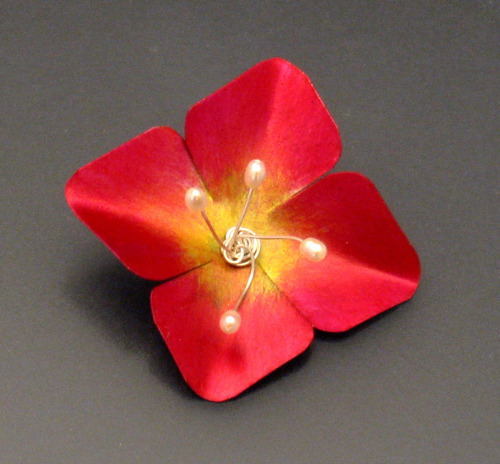 Red Flower Brooch or Pendant by Louise Rauh
