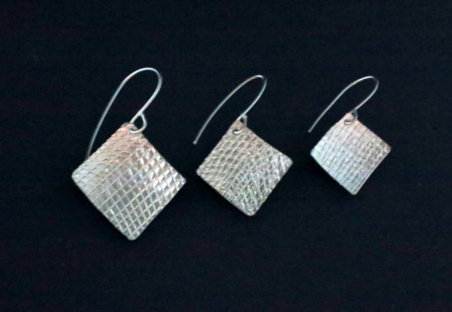 Sterling Silver Textured Earrings 3 sizes