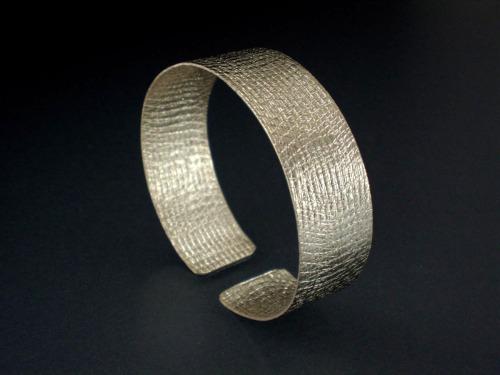 Textured,Silver Cuff Bracelet