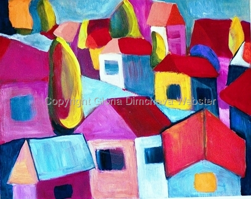 Village Near The Sea by Gloria Dimcheva Webster