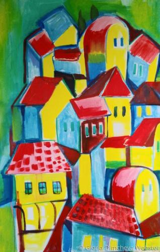 Red Roofs by Gloria Dimcheva Webster