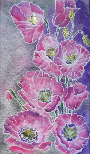 Pink Poppies on Silk