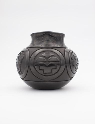 Carved Black Jar by Linda Tafoya Sanchez