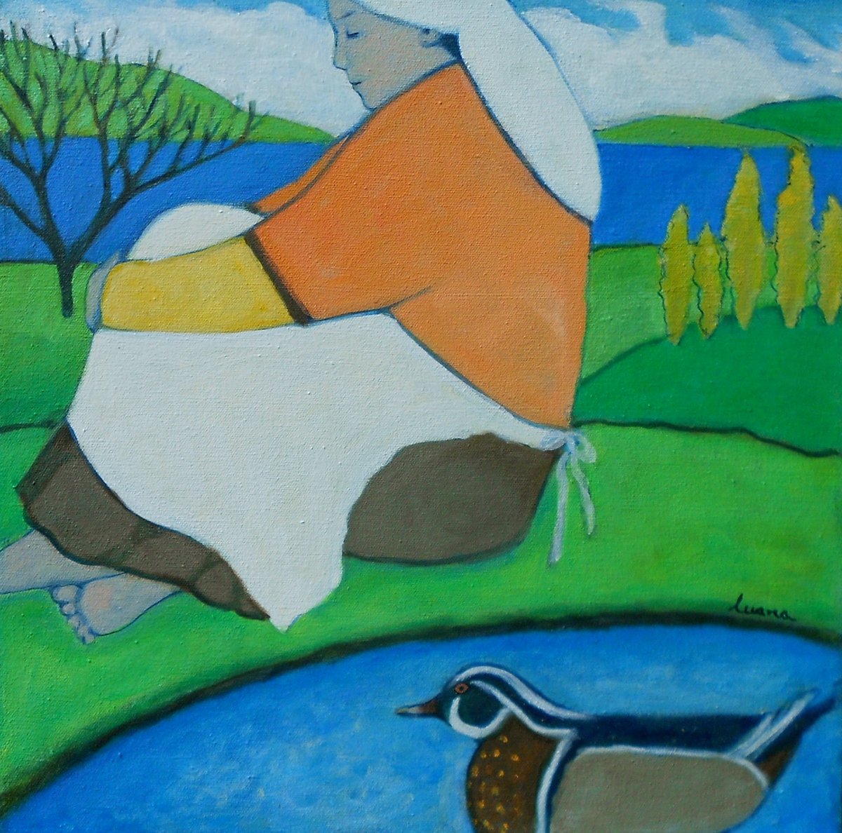 Washerwoman & Wood Duck (large view)