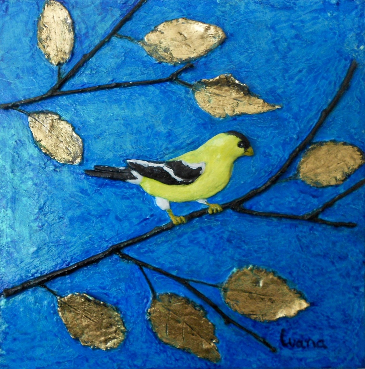 Goldfinch & Gold Leaves (large view)