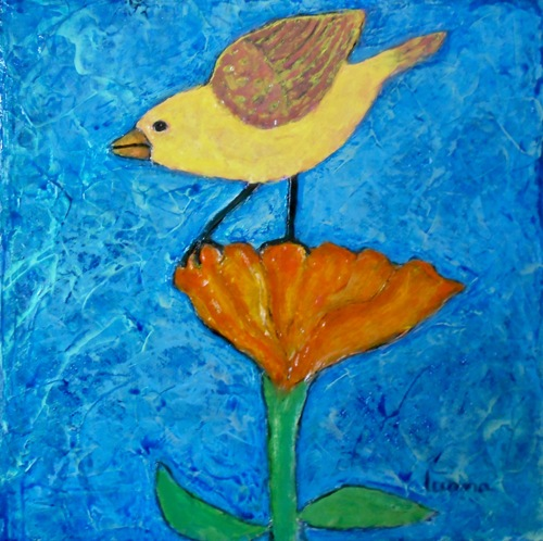Yellow Bird on Orange Flower