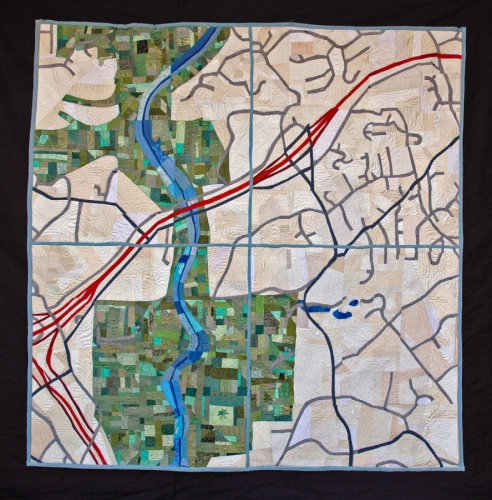 Map Quilt, Fishman Commission by Lucinda Carlstrom