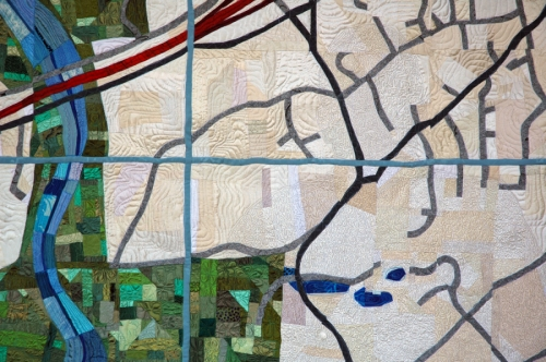 Map Quilt Detail by Lucinda Carlstrom