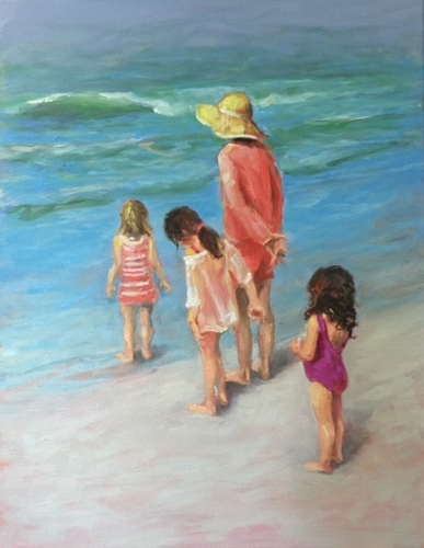 Mom and Girls at the Beach