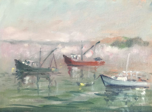 Lifting Fog, Lubec Harbor