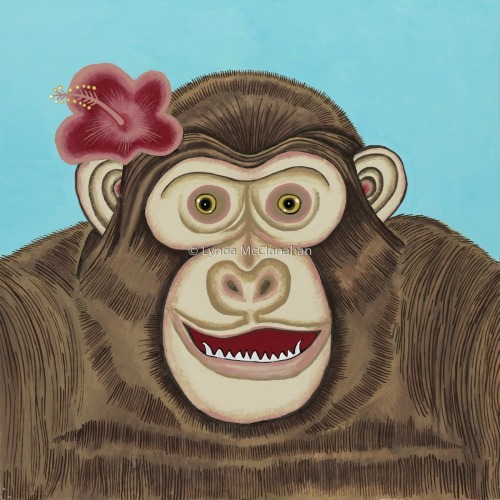 Monkey With Red Flower