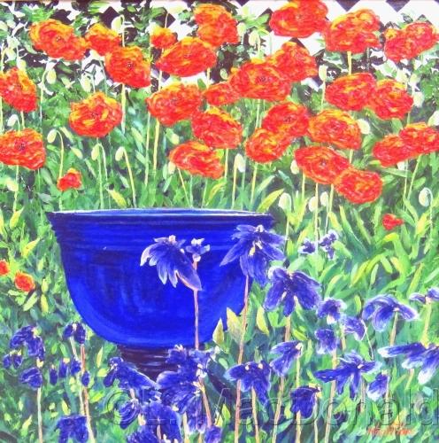 Blue Bowl in the Garden by Lori MacDonald Fine Art