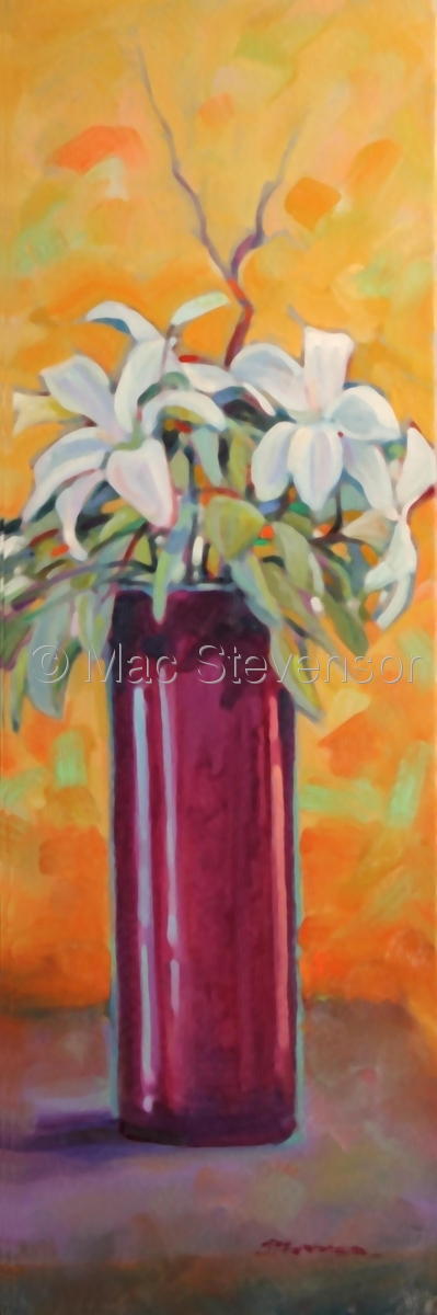 Lilies with burgundy vase (large view)
