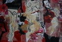 Abstract, Collage, vibrant ochres and reds, pattern and movement - Abstract Painting