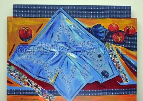 STILL LIFE WITH EMBROIDERED TABLE CLOTH (large view)