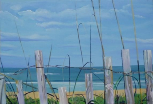 seascape acrylic paintings bethune beach scene with fence ii by