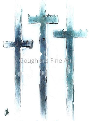 Three Crosses in Blue