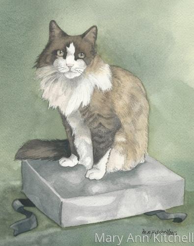 Watercolor cat portrait:  Munch