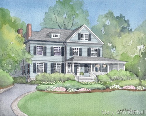 Custom home portrait:  Winter vacation home