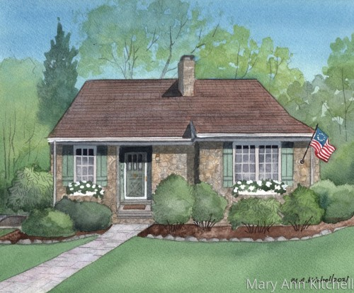 Custom watercolor home portrait:  57 McNeill Lane
