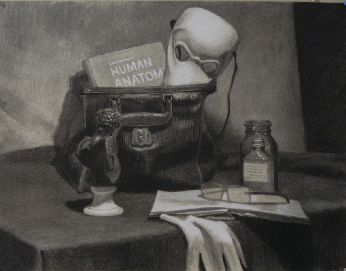 Charcoal Still Life With The Theme of Medicine (large view)
