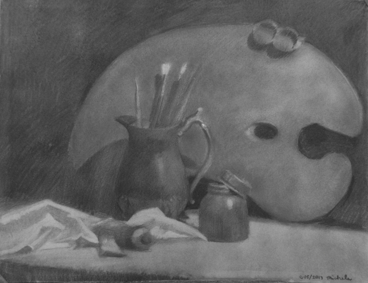 Charcoal Still life With Theme Of Painting (large view)