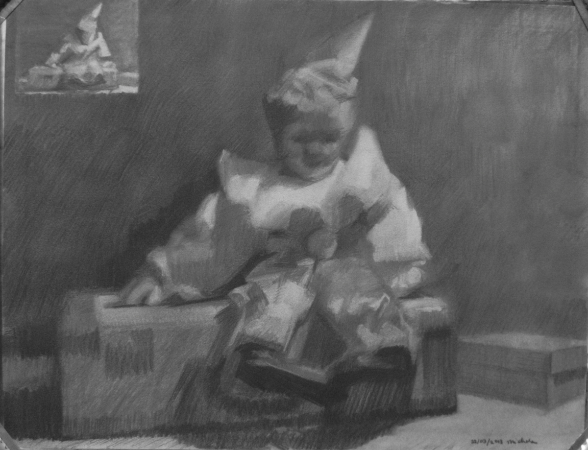 Charcoal on Canson paper, with white chalk added.  Theme is linked to Circus through the selection of objects, like the beautiful clown doll and the suitcase,  Thumbnail included in composition. (large view)
