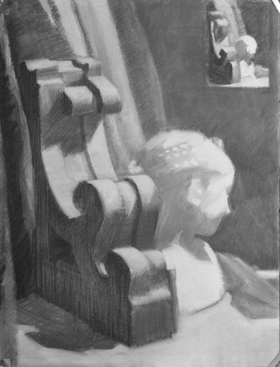 Charcoal on Canson paper.  Theme is an arrangement of antique objects, like the antique Cast from antiquity of the girl's bust and the Victorian Gingerbread Architectural Bracket ,  Thumbnail included in composition. (large view)