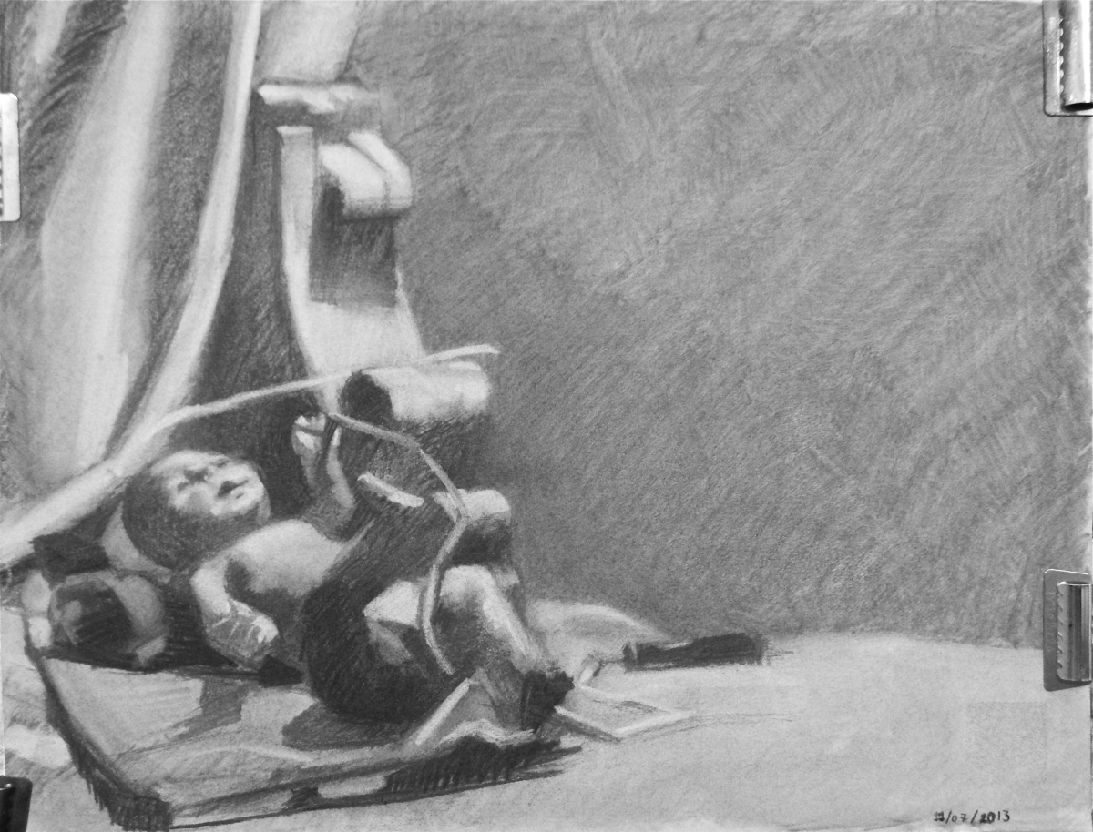 Charcoal on Canson paper.  Theme is an arrangement of toys, like the Anatomically Correct Boy Doll, the Jumprope, the Plastic Rose, and the Victorian Gingerbread Architectural Bracket. (large view)