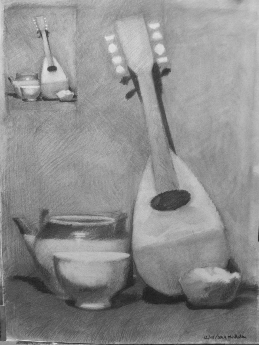 Charcoal on Canson paper.  Theme is an arrangement of objects, like the Antique Mandolin, the Japanese Bowls and the White Gourd.  Thumbnail is included in composition. (large view)