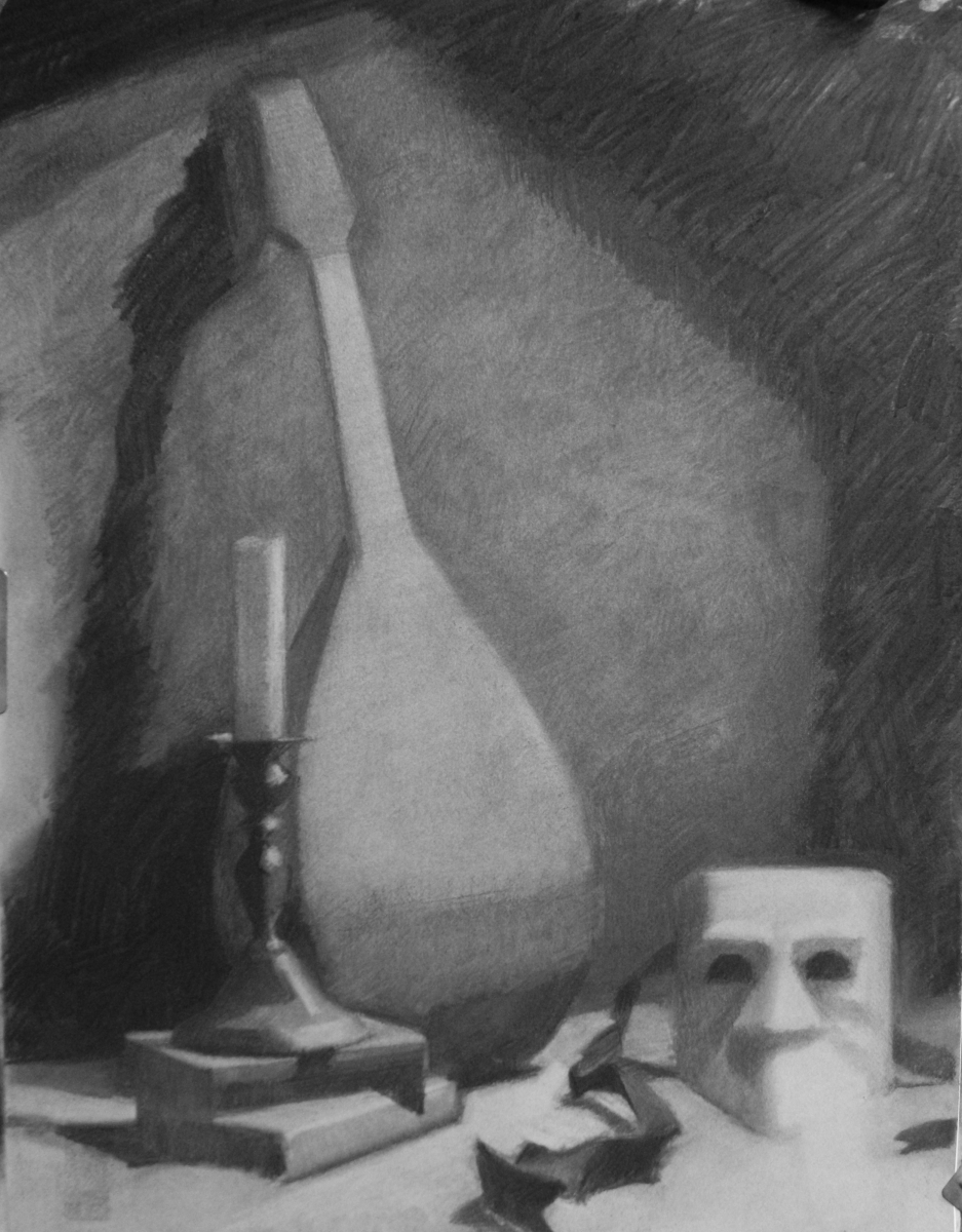 Charcoal on Canson paper.  Theme is an arrangement of objects with the Theme of a Serenade, like the Antique Mandolin, the Venetian Incognito Mask (In Bauta), the Candlestick Holder and Candle and Two Books of Poetry.   (large view)