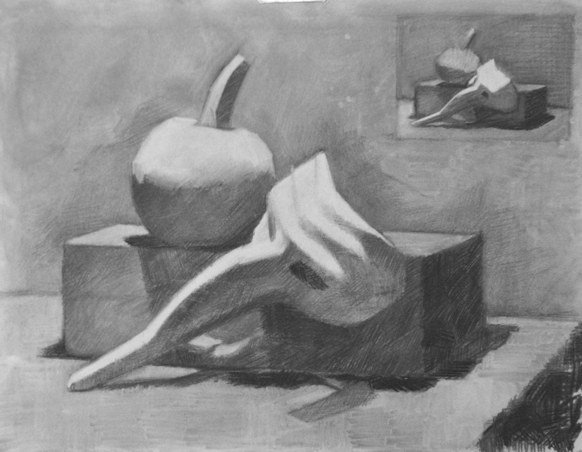 Charcoal on Canson paper.  Theme is an arrangement of objects with the Theme of Halloween, like the Small Pumpkin, the Venetian Mask, the Suitcase.  Thumbnail is included in the composition.  (large view)