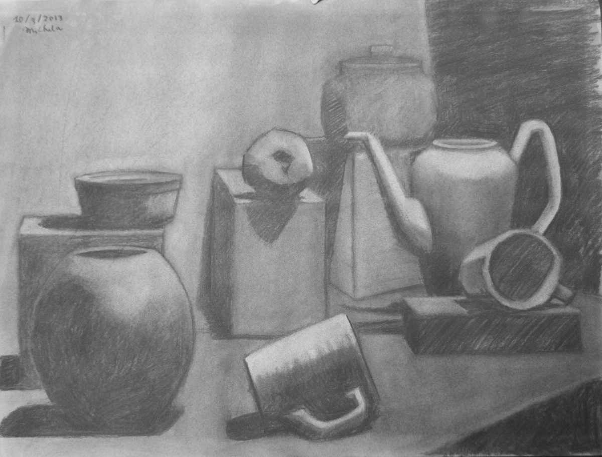 Charcoal on Canson paper.  Theme is an arrangement of objects mid ranging from simplicity to complexity.   (large view)