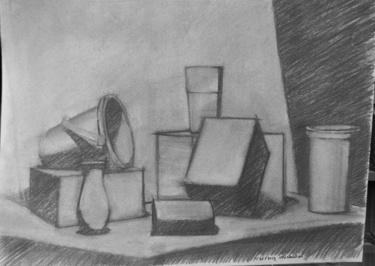 Charcoal on Canson paper.  Theme is an arrangement of simple objects. (large view)