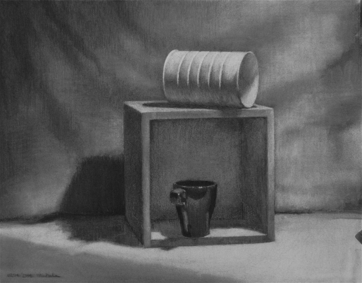 a simple still life set up with a box turned towards the viewer and a black coffee mug sits in it, a coffee can sits on top of the box. (large view)